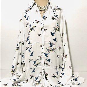 Bird Print Asymmetrical Tiered Tunic Top